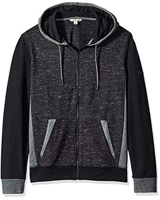 Calvin Klein - Black Jeans Texture Blocked Hoodie for Men - Lyst