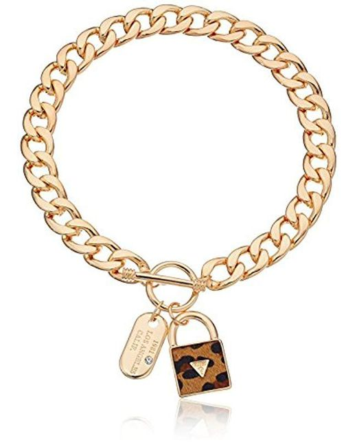 """Guess - Metallic """"basic"""" Gold Dogtag And Padlock Pendant Necklace - Lyst"""