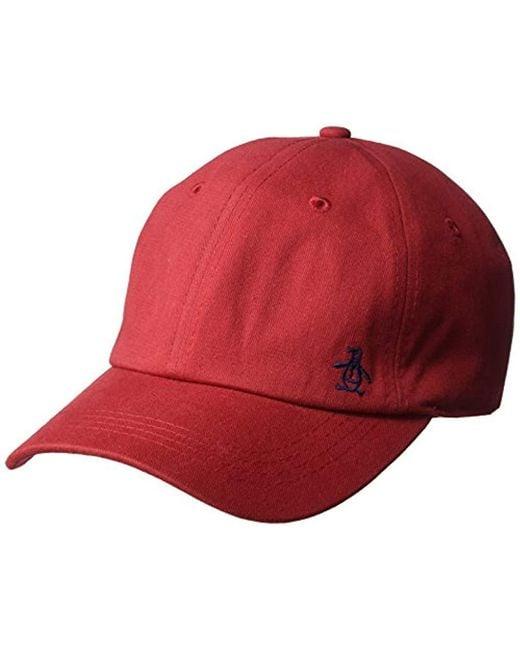 Original Penguin - Red Twill Logo Baseball Cap for Men - Lyst