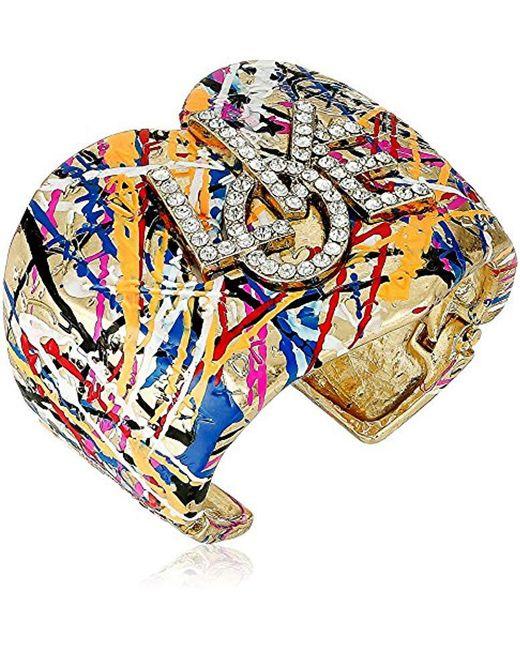 Betsey Johnson - Metallic Harlem Gold And Crystal Graffiti Cuff Bracelet - Lyst