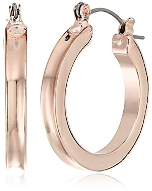 Guess - Metallic S Small Wide Hoop Earring - Lyst