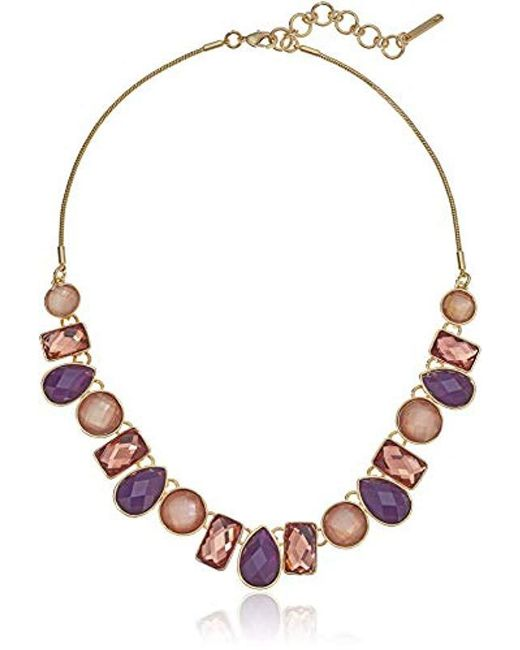 """Nine West - Metallic Gold-tone And Berry 16"""" Frontal Necklace, Size 0 - Lyst"""