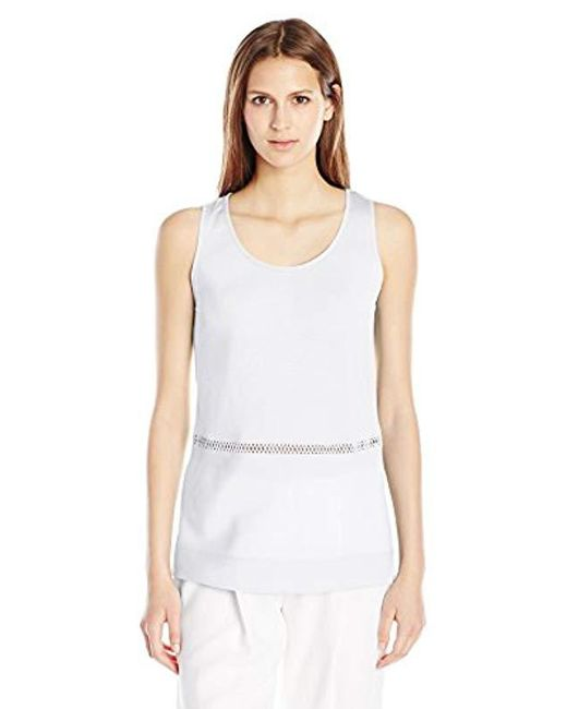 French Connection - White Polly Plains Sleeveless Top - Lyst