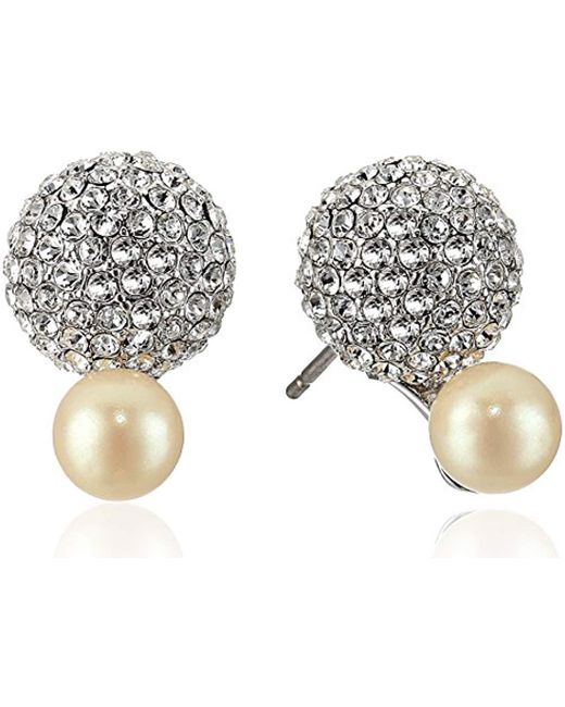 Kate Spade - Metallic S Flying Colors Pave Double Bauble Stud Earrings - Lyst