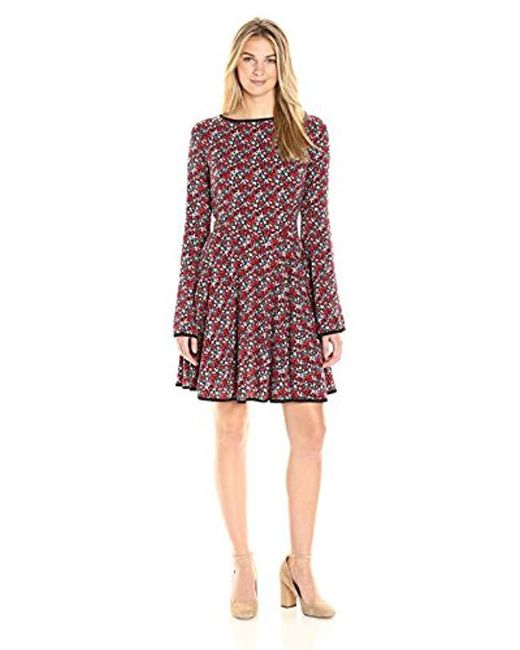 James & Erin - Multicolor Piped Knit Flare Dress - Lyst