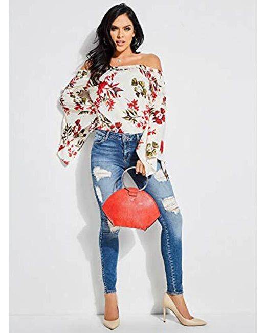 9dd255bfa54 ... Guess - Multicolor Off The Shoulder Hayden Top - Lyst ...