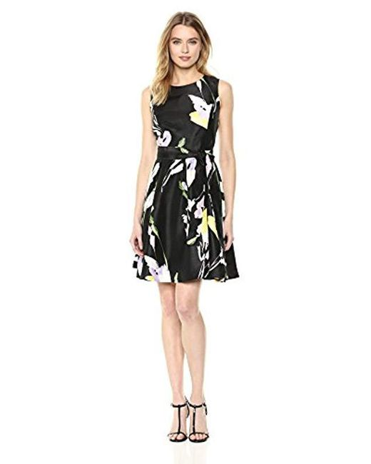 Nine West Black Sleeveless Shantung Dress With Sash