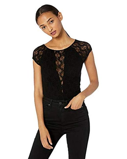 Only Hearts Black Stretch Lace Raglan T Lined