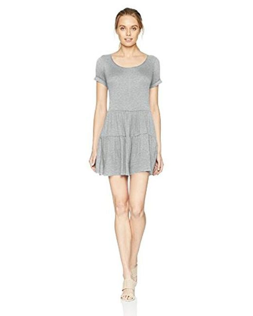 4ebd21961b76 Kensie - Gray Light Weight French Terry Romper With Ribbon Tie Back - Lyst  ...