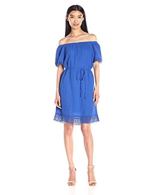 Michael Stars Blue Off-shoulder Dress With Lace