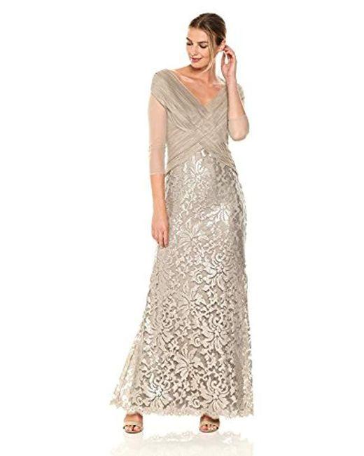 Tadashi Shoji - Metallic Mesh And Sequin Gown - Lyst