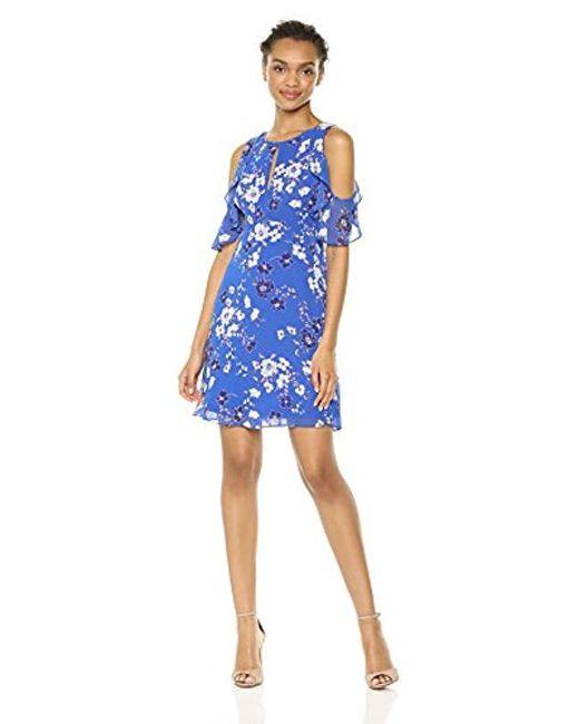 Kensie - Blue Cold Shoulder Floral Printed Dress, - Lyst