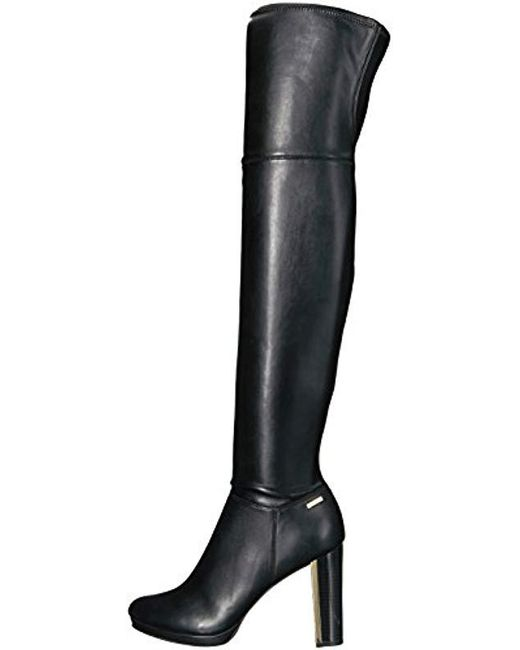 f913fafda06 Lyst - Calvin Klein Pammie Over The Knee Boot in Black - Save 22%