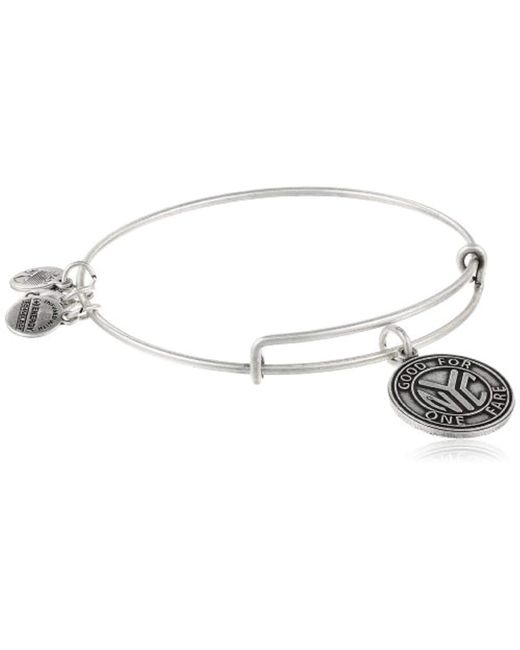 """ALEX AND ANI - Metallic """"places We Love"""" Russian Nyc Subway Token Ii Expandable Wire Bangle Bracelet - Lyst"""