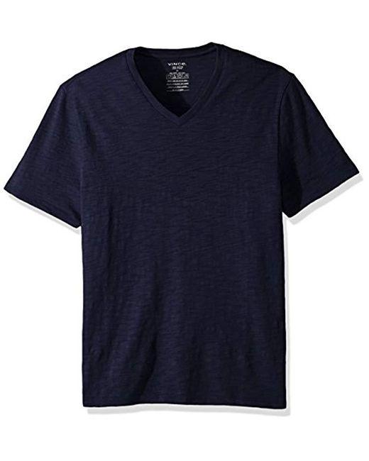 Vince - Blue Slub V-neck T-shirt for Men - Lyst