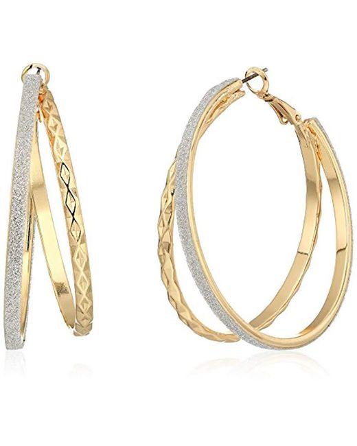 Guess - Metallic Update Glitter Paper Hoop Earrings - Lyst