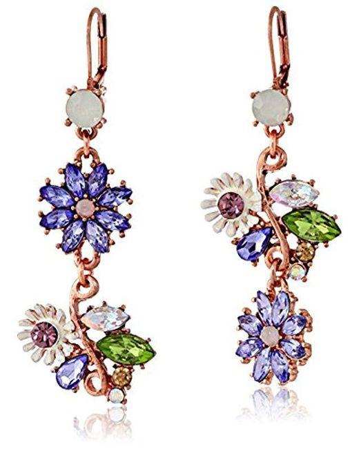 Betsey Johnson - Purple Spring Fling Faceted Bead Flower Mismatch Drop Earrings - Lyst