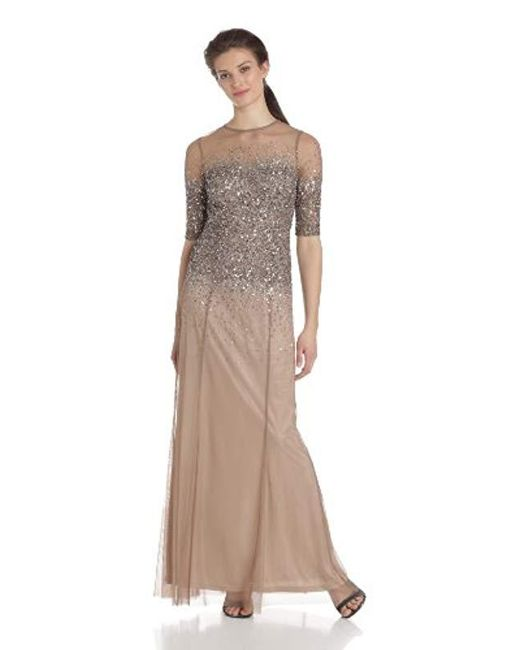 6f4e262962 Adrianna Papell - Multicolor 3 4 Sleeve Beaded Illusion Gown With Sweetheart  Neckline - Lyst ...