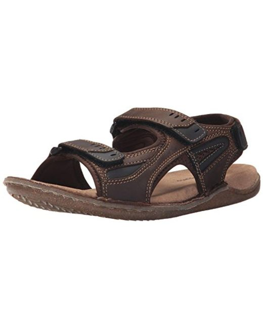 Hush Puppies - Brown Rawson Grady (black Waxy Leather) Men's Sandals for Men - Lyst