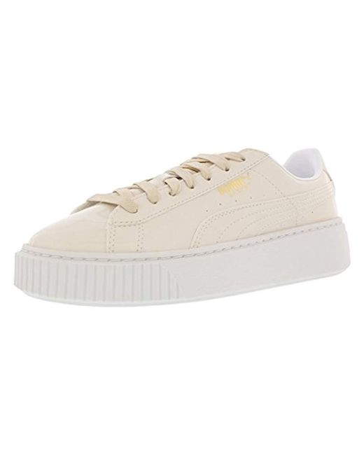 01fa003fe199 Lyst - PUMA Basket Platform Patent Wn s Field Hockey Shoe in Natural ...