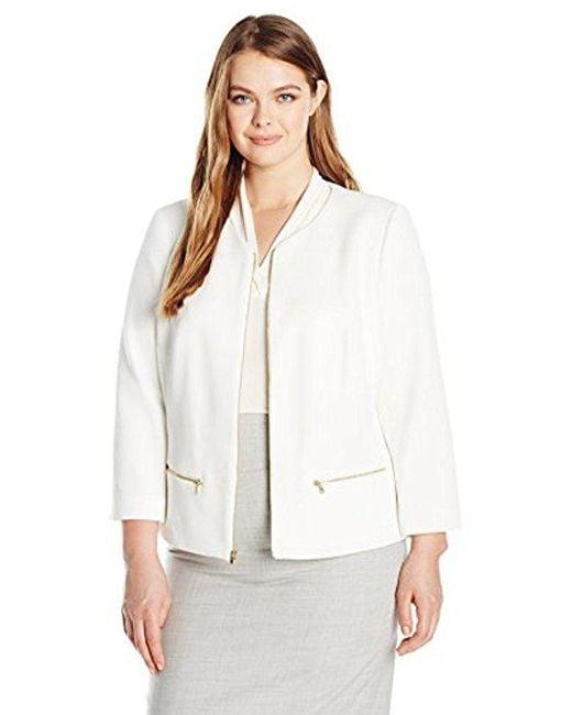 Nine West - White Plus Size Textured Knit Jewel Neck Zip Front Jacket - Lyst