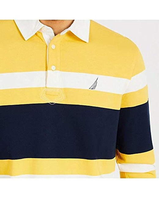 4d4ee3e3 ... Nautica - Yellow Striped Heavy Weight Jersey Long Sleeve Polo Shirt for  Men - Lyst