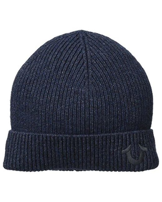 True Religion - Blue Ribbed-knit Watch Cap for Men - Lyst