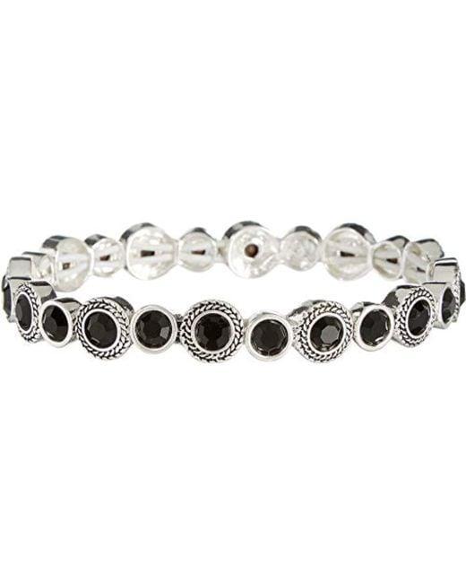 Napier - Black Jet And Silver Glass Stretch Bracelet - Lyst