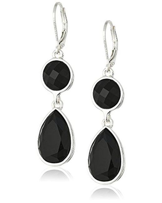 "Nine West - Metallic ""color Me Bright"" Silver-tone/jet Double Drop Earrings - Lyst"