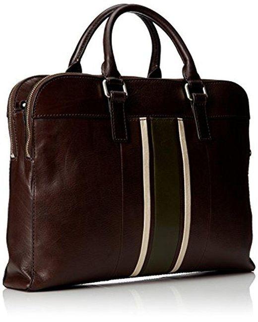 Fossil Brown Mercer Leather Top Zip Workbag For Men Lyst