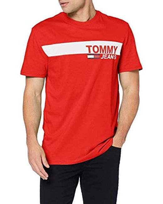 8217bf7e7 Tommy Hilfiger - Red Tjm Essential Box Logo Tee T-shirt for Men - Lyst ...