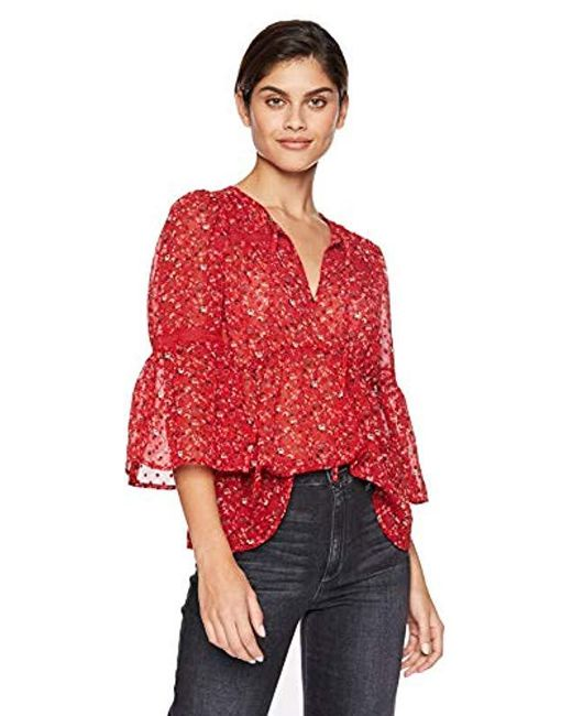 Lucky Brand Red Swiss Dot Ditsy Top