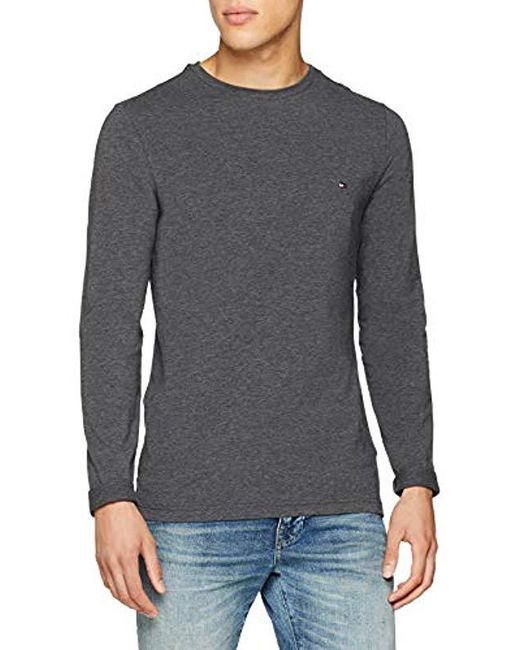 Tommy Hilfiger - Gray Stretch Slim Fit Long Sleeve Top for Men - Lyst