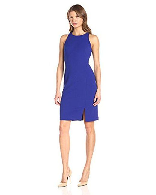 Calvin Klein - Blue Halter Neck Sheath Dress With Side Slit - Lyst