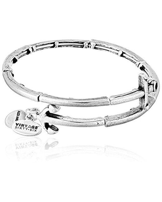 ALEX AND ANI - Metallic Anchor Metal Wrap Bangle Bracelet - Lyst