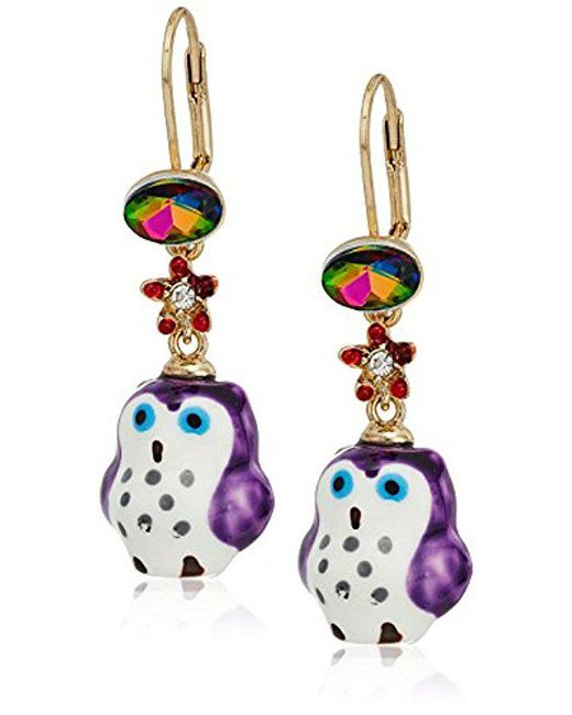 Betsey Johnson - S Purple And Gold Owl Drop Earrings - Lyst