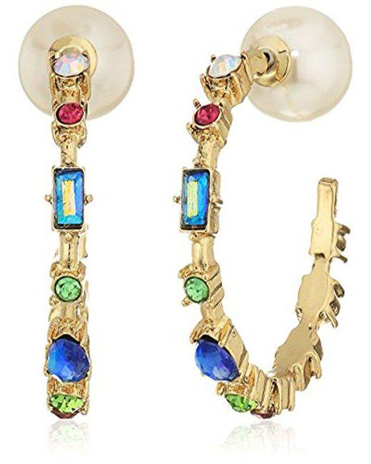 Betsey Johnson - Multicolor S Multi-stone Hoop Earrings - Lyst