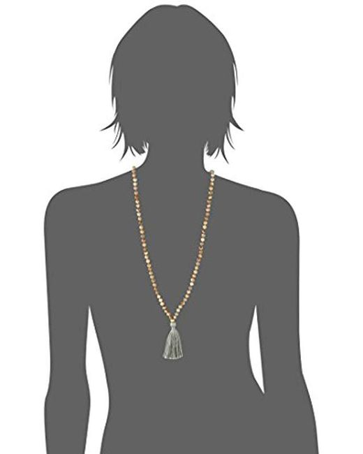 "Satya Jewelry - Natural Classics Gold Plate Lotus Tassel Mala Strand Necklace, 32"" - Lyst"