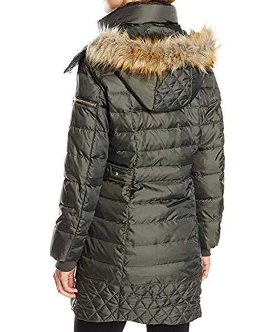 7e81ce82de7a ... Sam Edelman - Green Lara Down Coat With Faux Fur Trim Hood