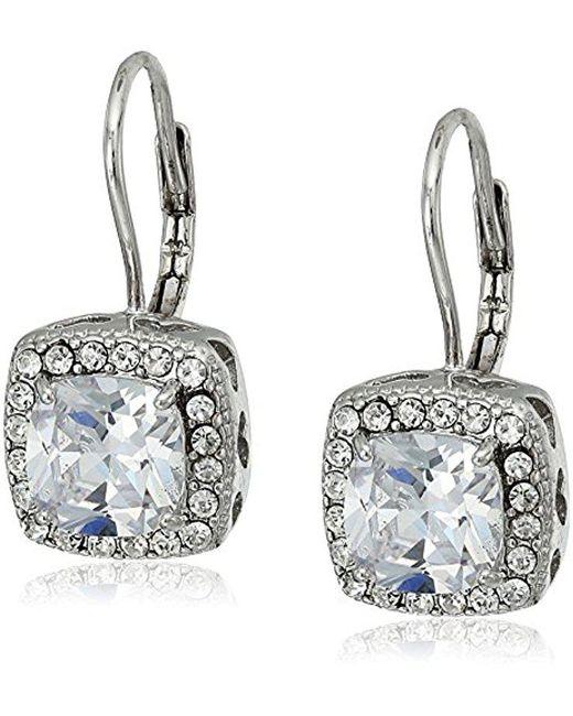 "Betsey Johnson - Metallic ""betsey Blue"" Cubic Zirconia Stone Silver Square Drop Earrings - Lyst"