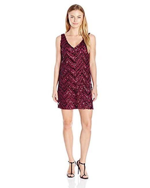 BB Dakota - Purple Petite Mayfair Zig Zag Sequin Shift Dress - Lyst