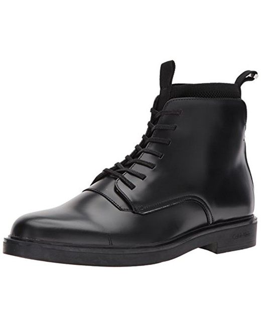 CALVIN KLEIN 205W39NYC - Black Devlin Box Leather/knit Boot for Men - Lyst