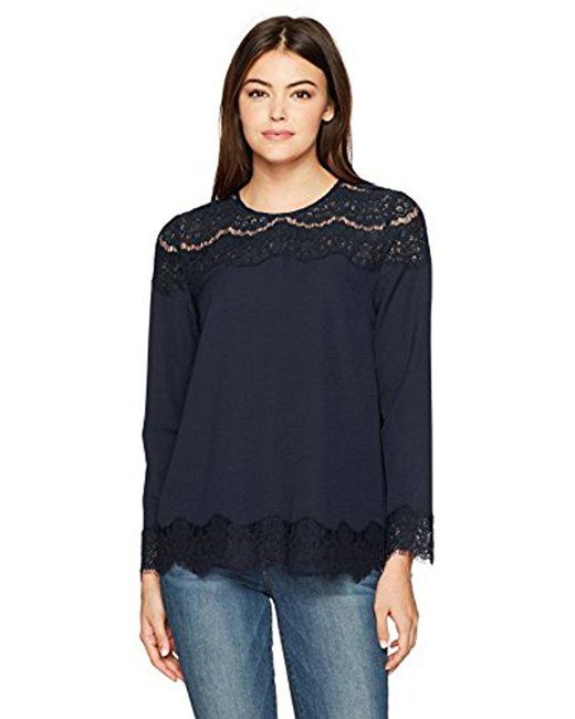 Kensie - Blue Smooth Stretch Crepe Long Sleeve Lace Top - Lyst