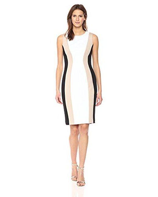 Calvin Klein - Black Sleeveless Multi Seamed Sheath Dress - Lyst