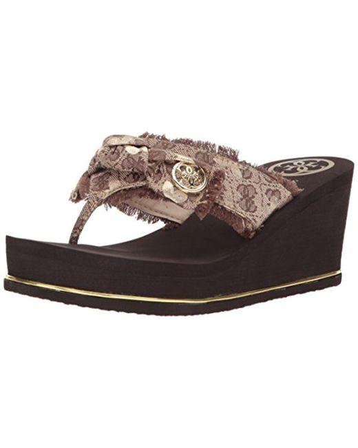 Guess - Natural Santos Wedge Sandal - Lyst