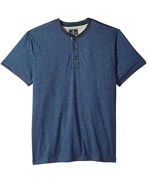 G.H.BASS - Blue Short Sleeve Carbonized Jersey Henley for Men - Lyst