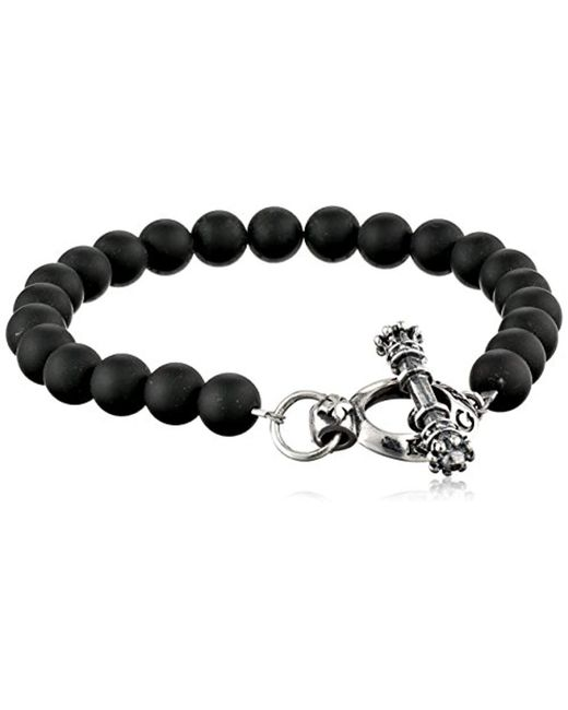 King Baby Studio - Silver Clasp With Black Onyx Bead Bracelet for Men - Lyst