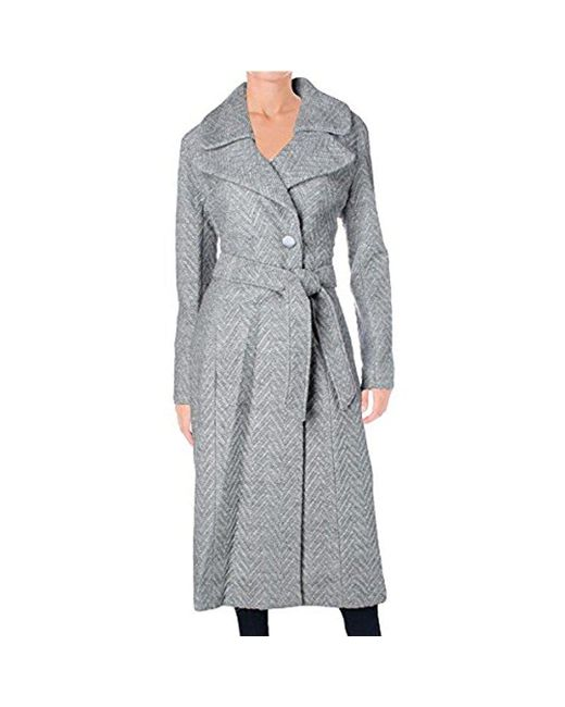 Nanette Lepore - Gray Knit Herringbone Fold Over Notch Collar Maxi Coat - Lyst