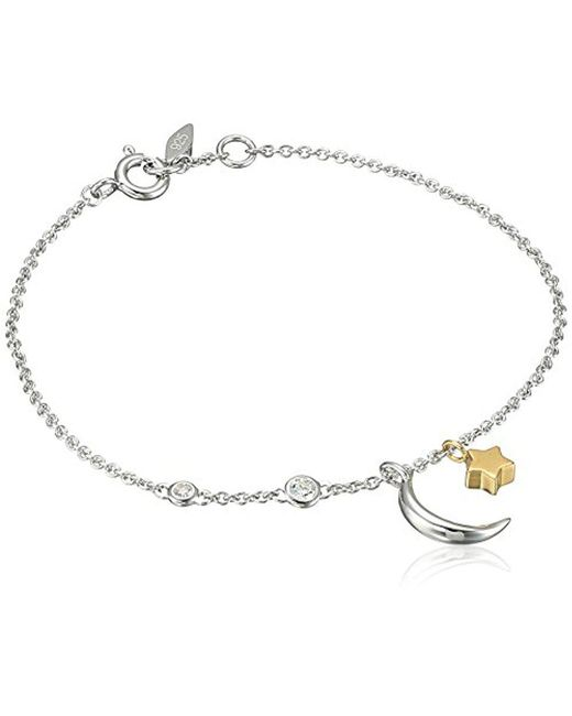 Fossil - Metallic Chain Bracelet With Moon And Star Motif - Lyst