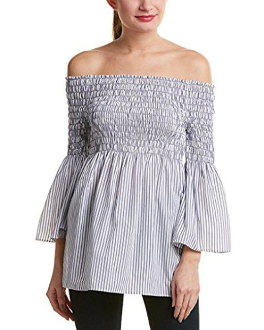 Max Studio - Blue Off The Shoulder Cotton Shirting - Lyst